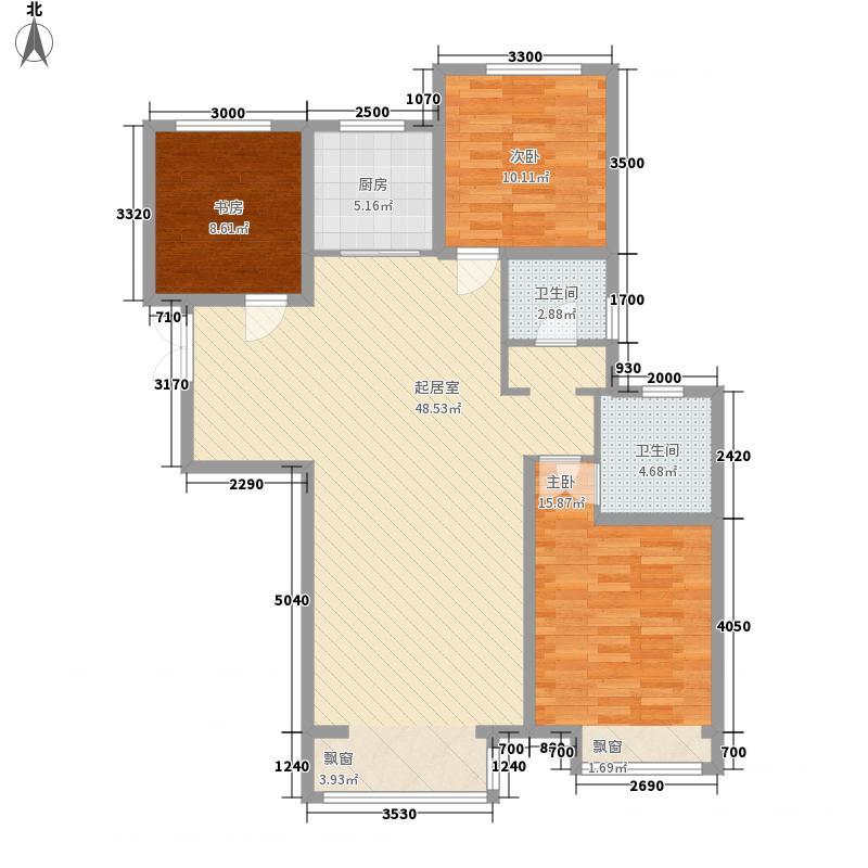 汇福悦榕湾126.00㎡二期6#A3居户型3室2厅2卫1厨