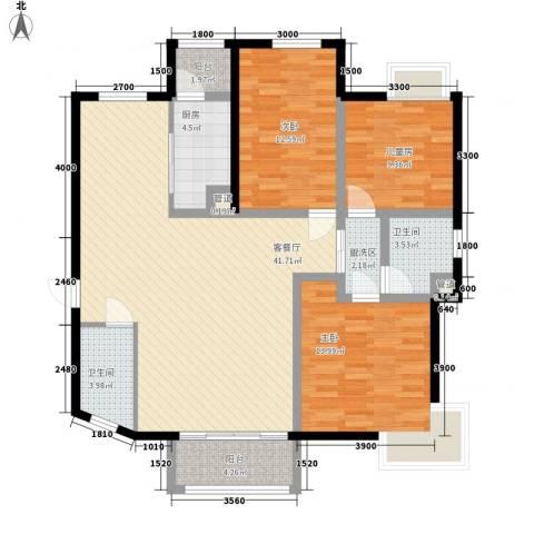 金水湾3室1厅2卫1厨142.00㎡户型图