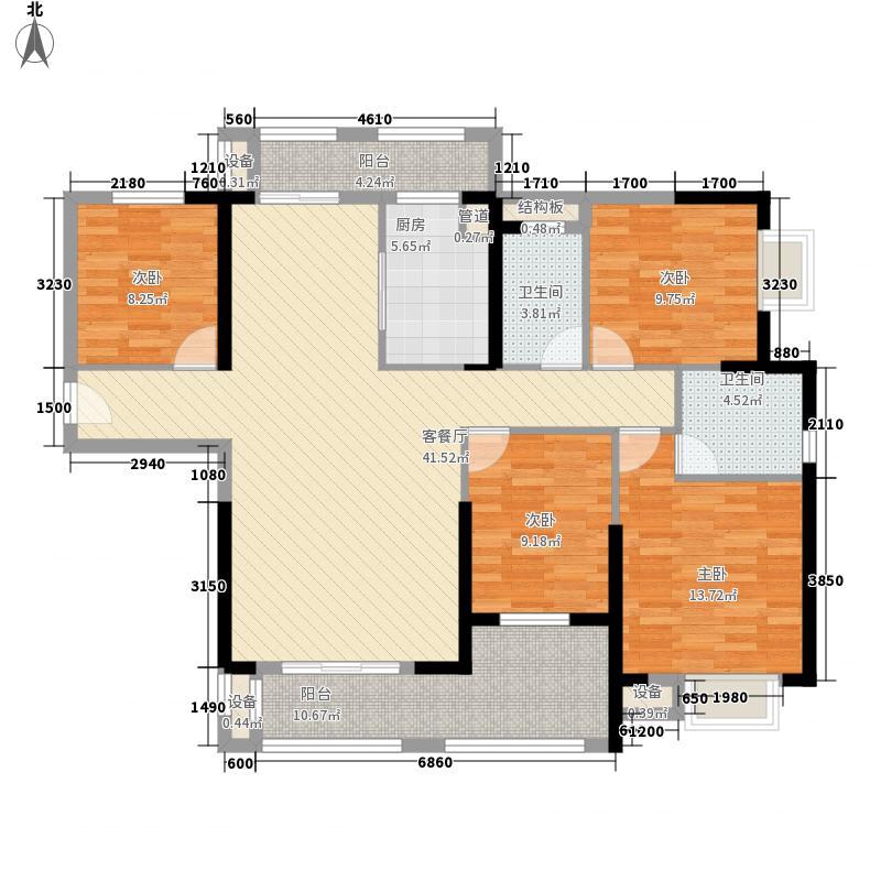 华强城公园1号163.82㎡华强城公园1号户型图68#楼B户型4室2厅2卫1厨户型4室2厅2卫1厨