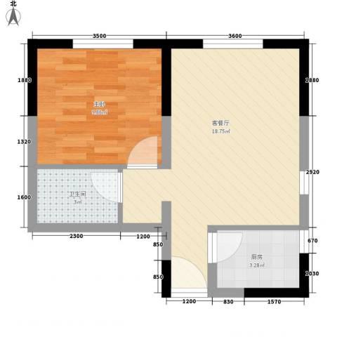 珠江新城二期1室1厅1卫1厨50.00㎡户型图