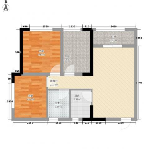 美桐1号公寓项目2室1厅1卫1厨74.00㎡户型图