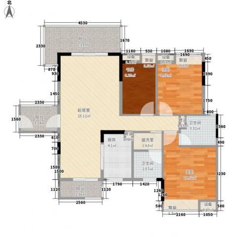 尚品雅居3室0厅2卫1厨86.84㎡户型图