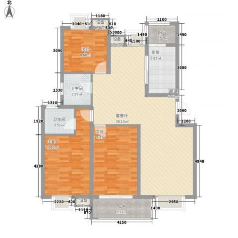 兴源家园3室1厅2卫1厨140.00㎡户型图