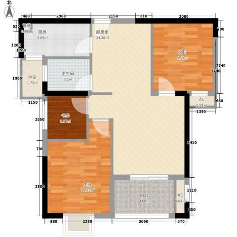 万星嘉和时代3室0厅1卫1厨86.00㎡户型图