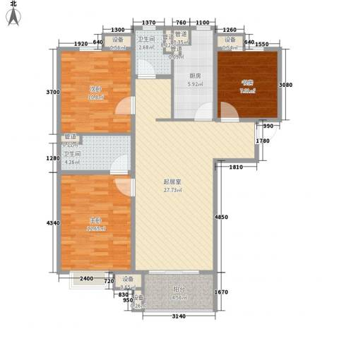 万科金域东郡3室0厅2卫1厨112.00㎡户型图