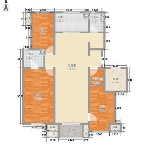 万科金域东郡3室0厅2卫1厨129.00㎡户型图