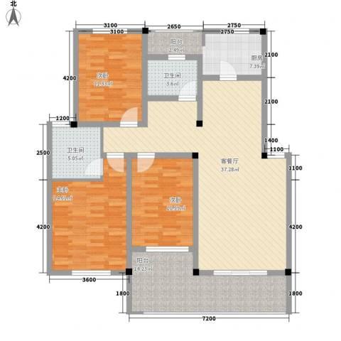 丰尚国际3室1厅2卫1厨119.00㎡户型图