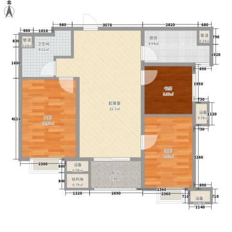 万科金域东郡3室0厅1卫1厨89.00㎡户型图