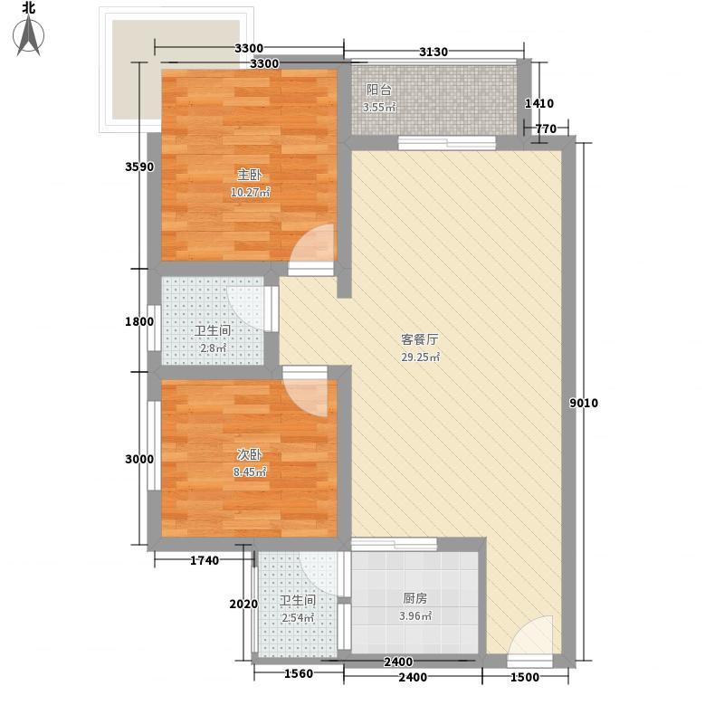 人和天地户型图GB1 2室2厅1卫
