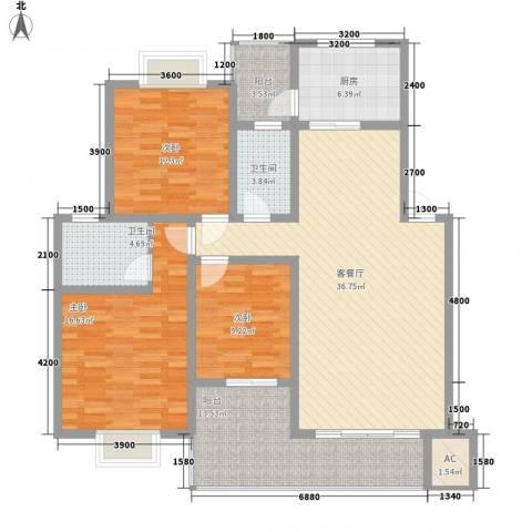 人和天地3室1厅2卫1厨122.00㎡户型图