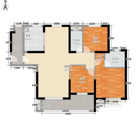 华强城公园1号3室1厅2卫1厨139.00㎡户型图