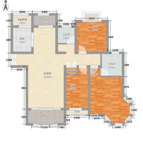 紫御城3室0厅2卫1厨88.21㎡户型图