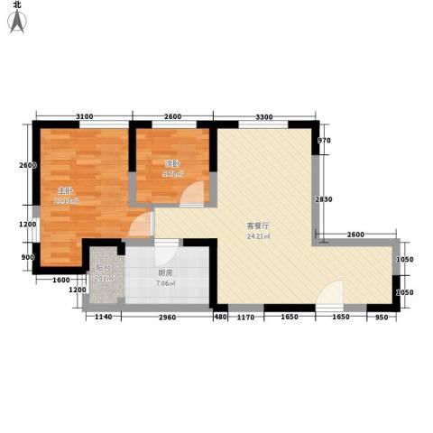 珠江新城二期2室1厅0卫1厨71.00㎡户型图