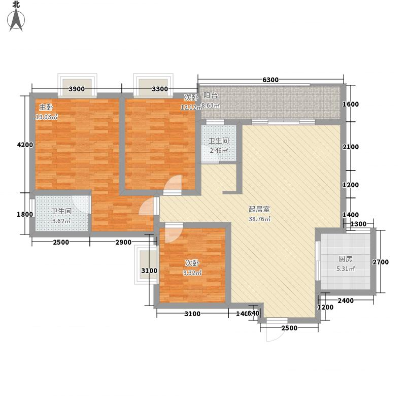 漓水书香124.00㎡15#1户型3室2厅2卫1厨
