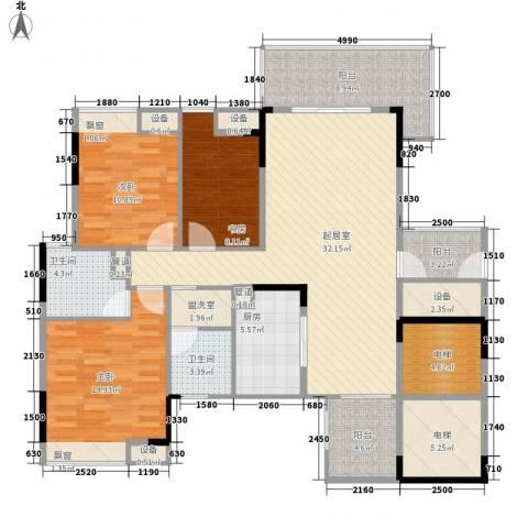 尚品雅居3室0厅2卫1厨126.03㎡户型图