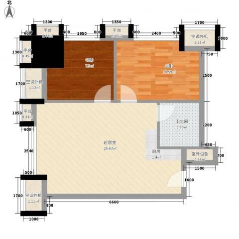 番禺万达广场2室0厅1卫0厨86.00㎡户型图
