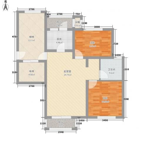 豪景新苑2室0厅1卫1厨86.61㎡户型图