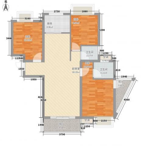 鑫盛・公园1号3室0厅2卫1厨117.00㎡户型图