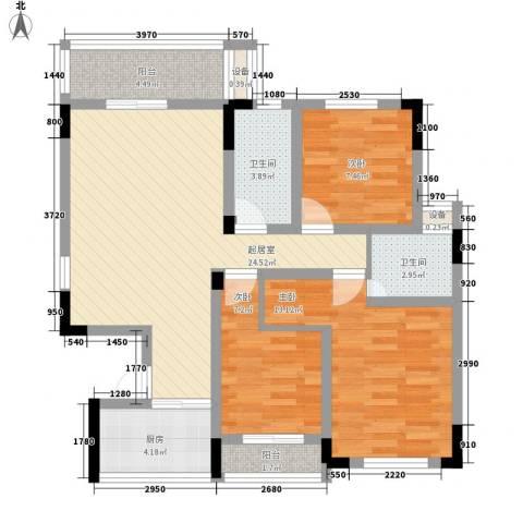 豪景新苑3室0厅2卫1厨84.00㎡户型图
