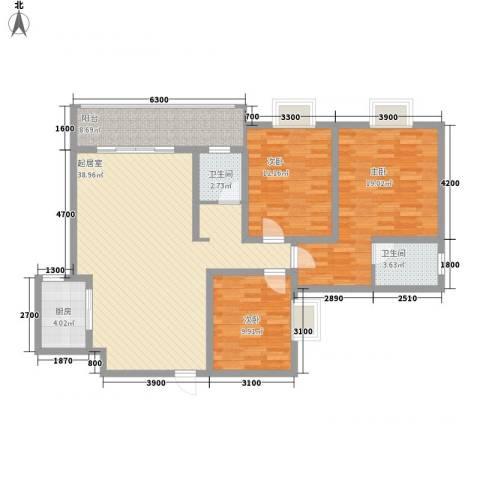 漓水书香3室0厅2卫1厨124.00㎡户型图