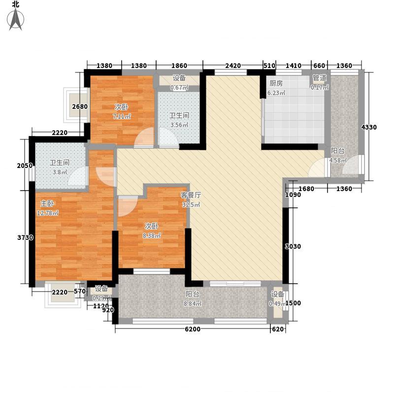华强城公园1号130.39㎡华强城公园1号户型图68#楼D3户型3室2厅2卫1厨户型3室2厅2卫1厨