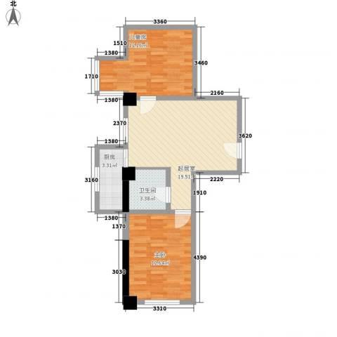 格林梦夏2室0厅1卫1厨72.00㎡户型图