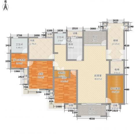 丽城旅游小区3室0厅2卫1厨157.89㎡户型图
