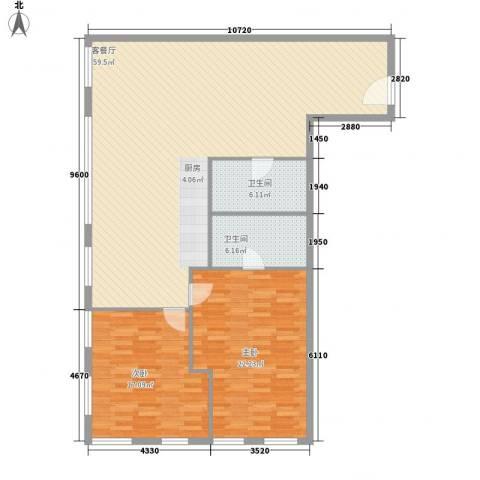 琦琳北辰2室1厅2卫0厨151.00㎡户型图