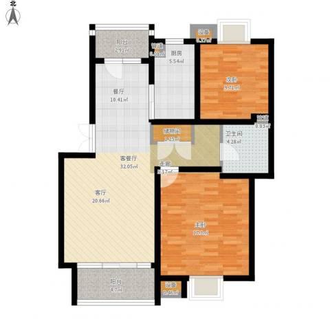 泰宸舒庭2室1厅1卫1厨115.00㎡户型图