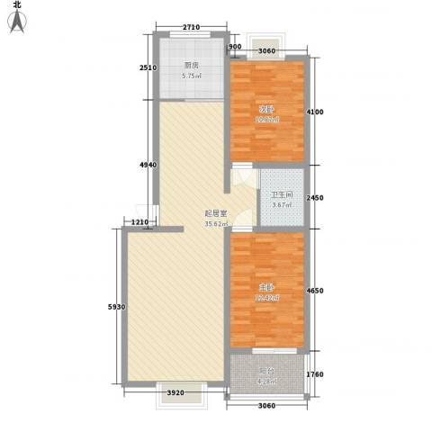 南方花园2室0厅1卫1厨104.00㎡户型图