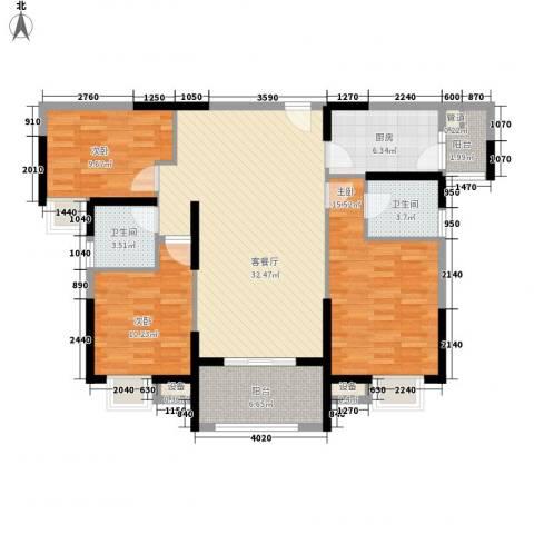 华强城公园1号3室1厅2卫1厨104.00㎡户型图