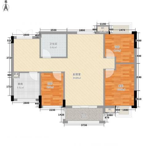 利豪名郡3室0厅1卫1厨104.00㎡户型图