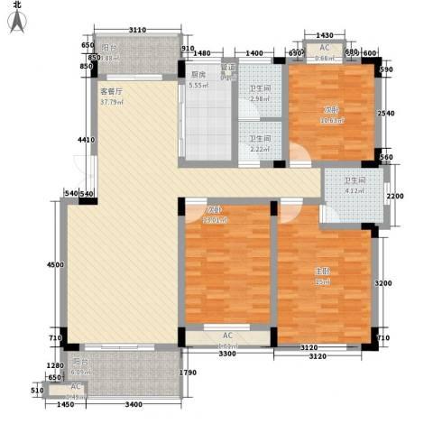 文昌北苑3室1厅3卫1厨151.00㎡户型图