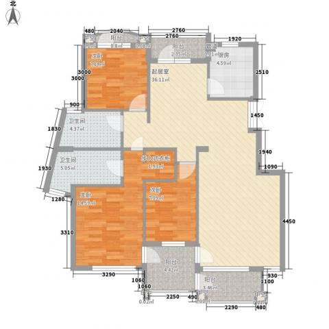 众益阳光海岸3室0厅2卫1厨104.00㎡户型图