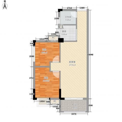 利豪名郡2室0厅1卫1厨83.00㎡户型图