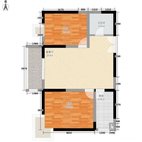 新兴骏景园二期2室1厅1卫1厨92.00㎡户型图