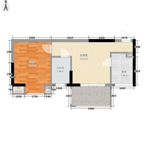 丽骏豪庭1室0厅1卫1厨48.18㎡户型图