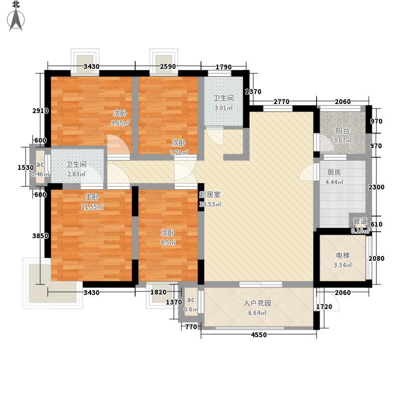 聚仁万象都会136.00㎡52号楼标准层A户型4室2厅2卫1厨