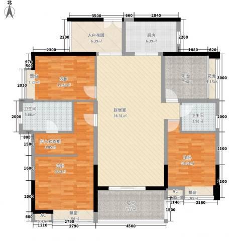 东方新城3室0厅2卫1厨146.00㎡户型图