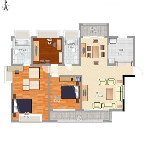 江南大道中128号大院3室1厅2卫1厨150.00㎡户型图