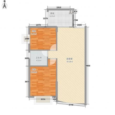 金元小区2室0厅1卫1厨95.00㎡户型图