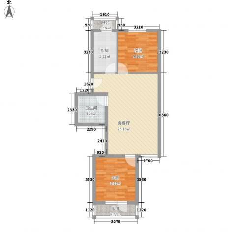 铁静苑2室1厅1卫1厨71.00㎡户型图