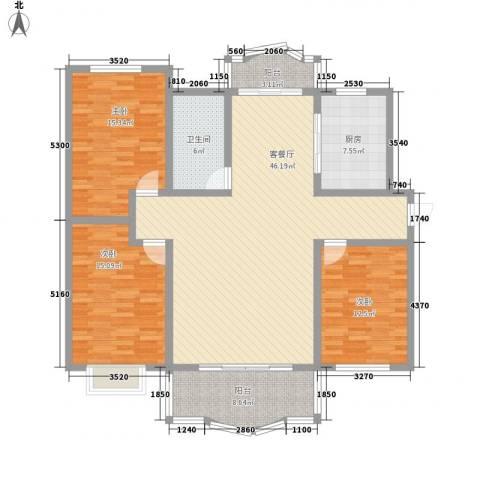 舒凯花苑3室1厅1卫1厨130.20㎡户型图