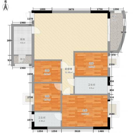 中南花园4室0厅2卫1厨81.59㎡户型图