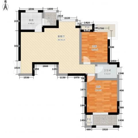 天朗西子湖2室1厅1卫1厨90.00㎡户型图