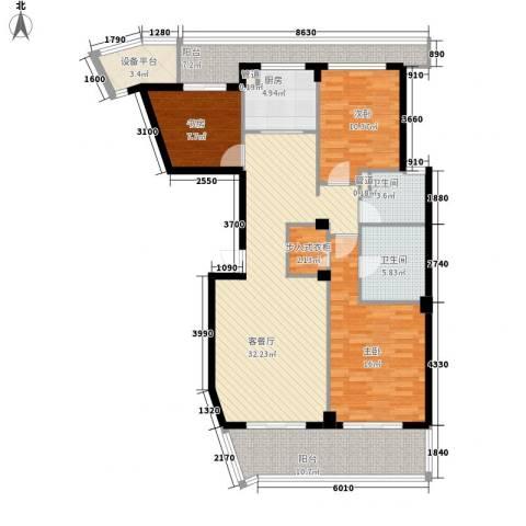 绿城长峙岛香樟园3室1厅2卫1厨150.00㎡户型图
