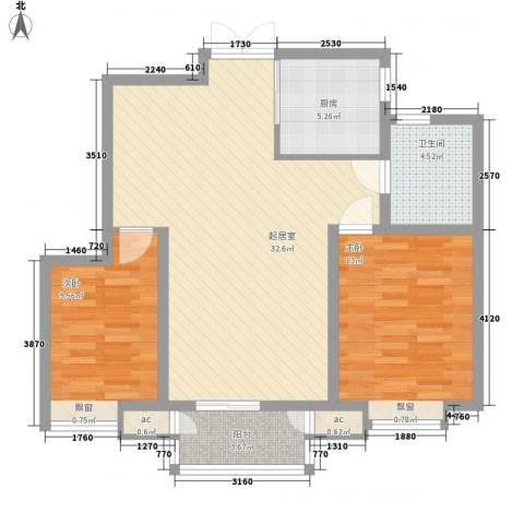 中建御邸世家2室0厅1卫1厨95.00㎡户型图