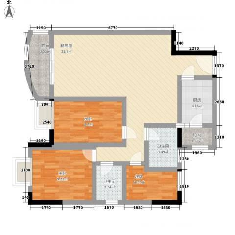 中南花园3室0厅2卫1厨102.00㎡户型图