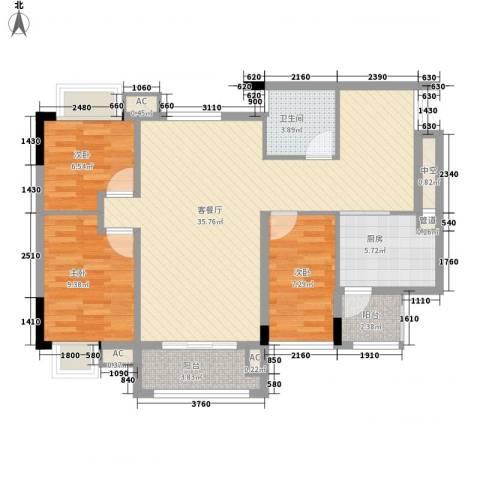 利豪名郡3室1厅1卫1厨111.00㎡户型图