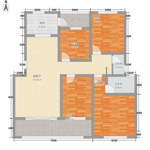 丰尚国际4室1厅2卫1厨131.00㎡户型图